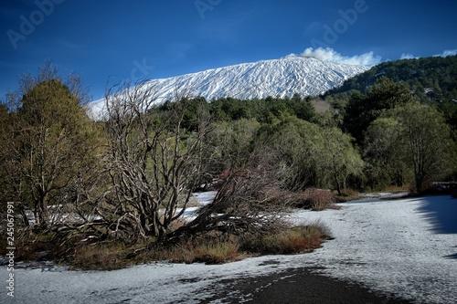 Fényképezés  Etna Mount Winter Landscape