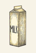 Milk Box Carton Package. Vector Engraving Vintage Illustration.