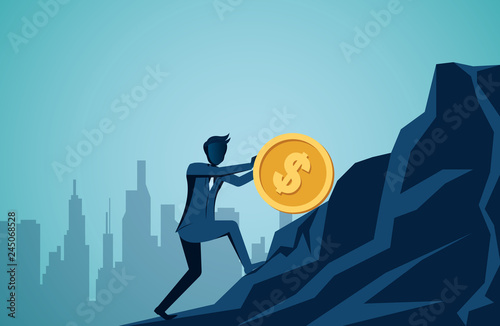 Obraz na płótnie Businessman rolling and pushing dollar coin uphill on the mountain to the goal of success