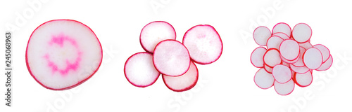 Poster Fresh vegetables Sliced fresh red radish isolated on the white background