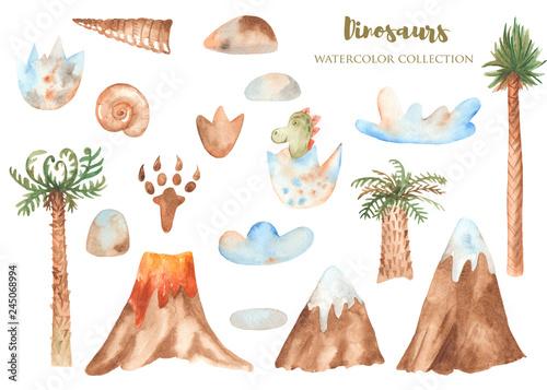 Fotografie, Obraz Watercolor set of prehistoric plants