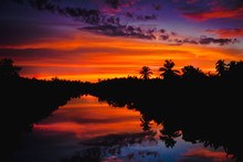 Colorful Sunset With Clouds Li...