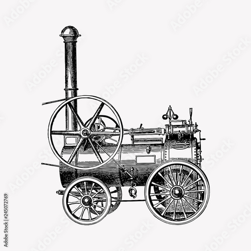 Fotografia Portable steam engines illustration