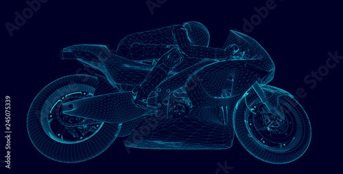 Obraz na płótnie professional motorcyclist racing on a moto GP championship