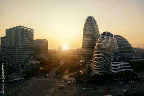 Poster de jardin Pekin WangJing Soho business district during sunset in Beijing, China.