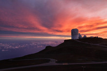 Haleakala Observatory At Sunset
