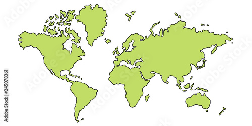 Fotomural  世界 地図 大陸 アイコン