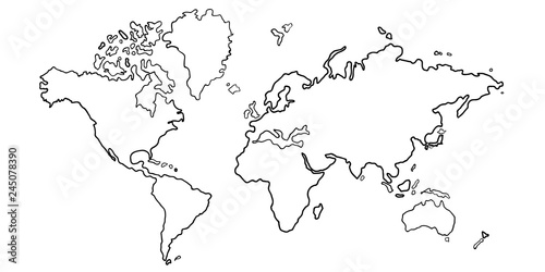 Obraz na plátně  世界 地図 大陸 アイコン