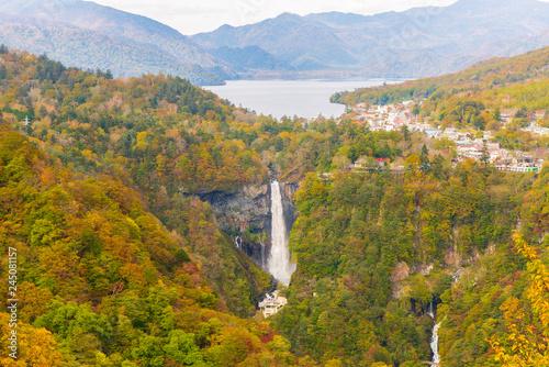 Deurstickers Asia land Kegon Falls and Chuzenji lake in autumn, Nikko, Japan.
