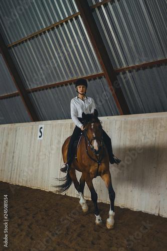 Poster Equitation A girl on horseback riding an arena