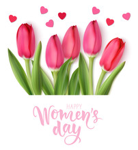International Womens Day Design Template. 8 March Background With Beautiful Spring Pink Tulip And Heart Confetti Isolated On White. Holiday Decoration. Vector Illustration