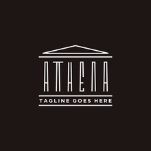 Athena Typography With Greek Historical Building Logo Design