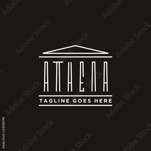 Athena Typography with Greek Historical Building logo design Wallpaper Mural
