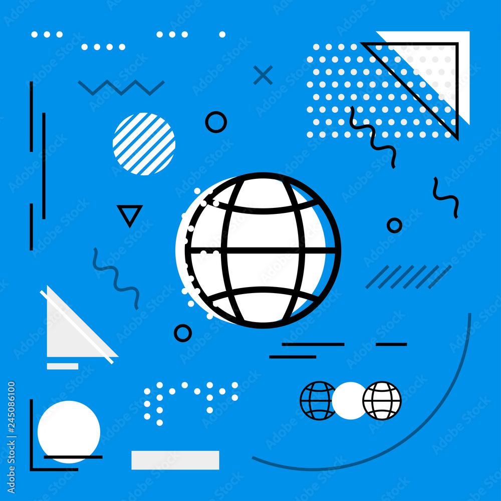 Fototapety, obrazy: Modern background with Globe icons