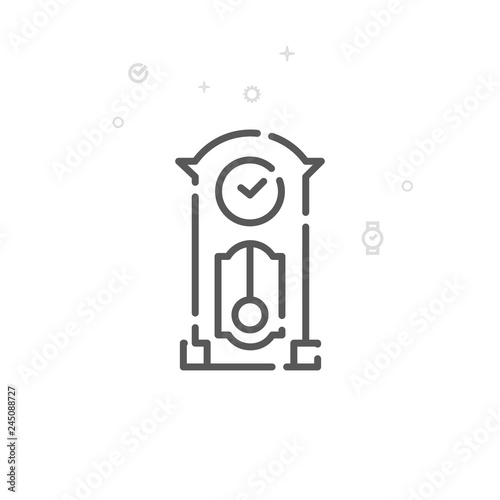 Valokuva  Grandfather Clock Vector Line Icon, Symbol, Pictogram, Sign