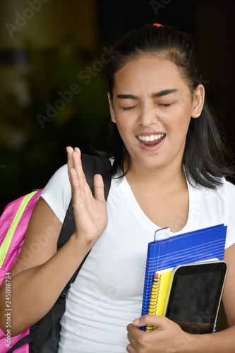 Fotografie, Obraz  Student Teenager School Girl And Laughter With Notebooks