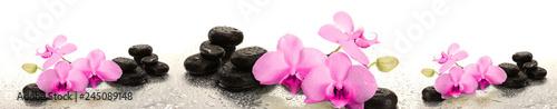 Stickers pour porte Orchidée Różowe storczyki na kamieniu | Pink orchids on stone