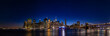 New York city skyline at night - panorama of Lower Manhattan from Brooklyn heights park