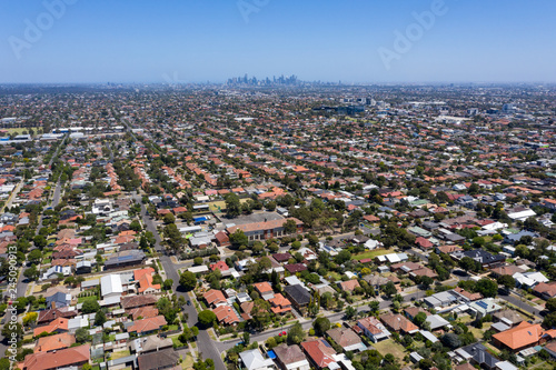 Aerial view of houses in the Melbourne suburb of Preston Victoria on a summers day Fototapet