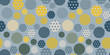dots circles seamless tile in retro blue yellow shades