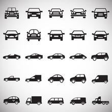 Automobile Icons Set On White ...