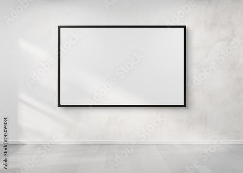 Fényképezés Black frame hanging on a wall mockup 3d rendering
