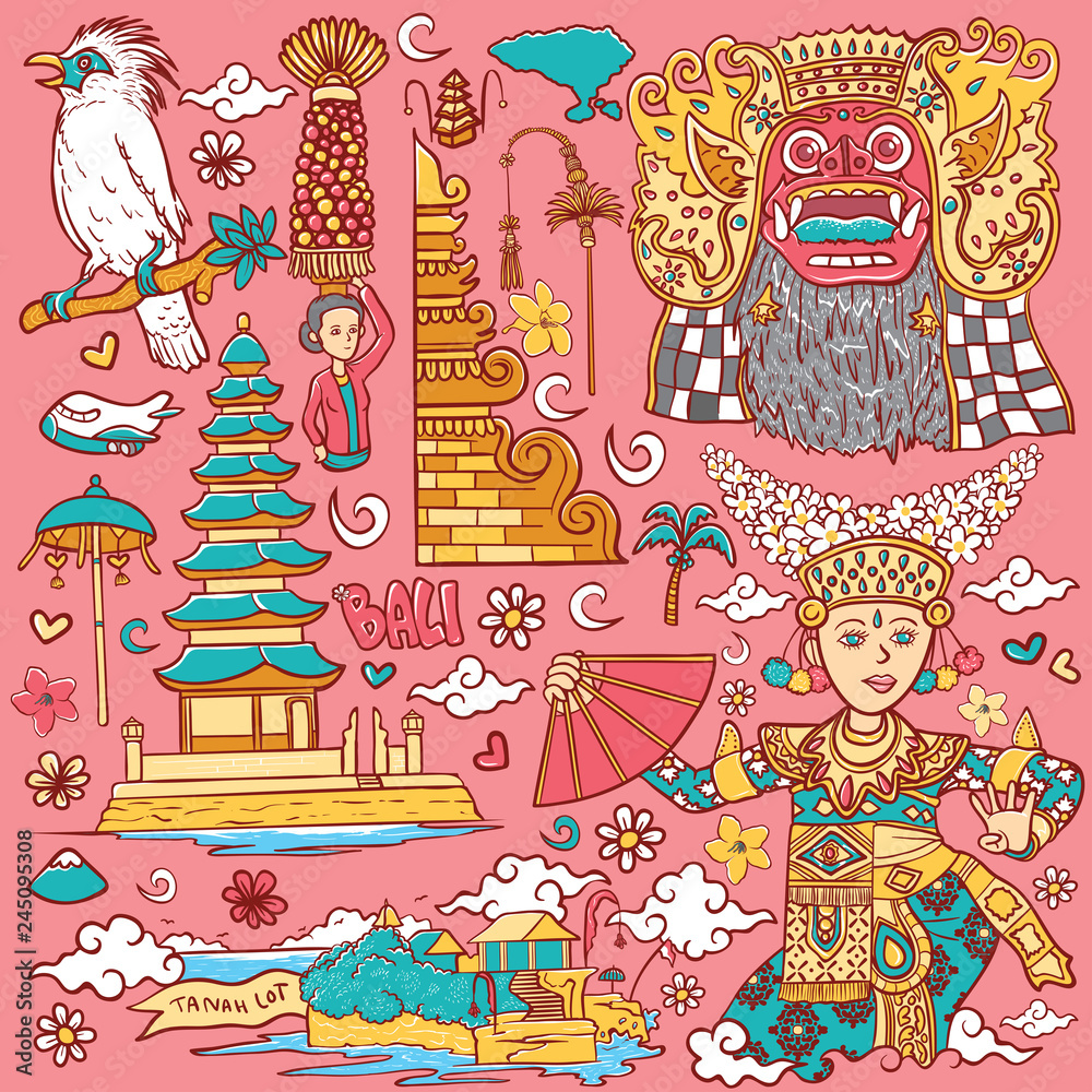 Fototapeta beautiful bali indonesia isolated illustration