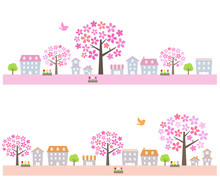 Big Cherry Tree In Spring Townscape Set