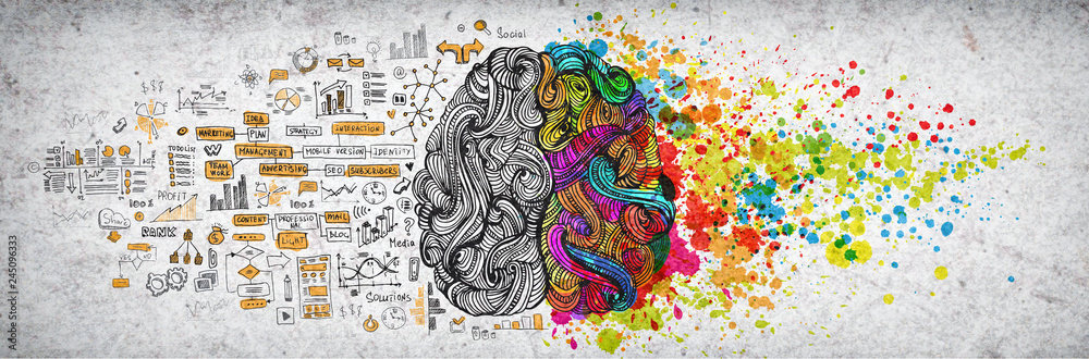Fototapeta Left right human brain concept, textured illustration. Creative left and right part of human brain, emotial and logic parts concept with social and business doodle illustration of left side, and art