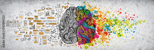 Left right human brain concept, textured illustration. Creative left and right part of human brain, emotial and logic parts concept with social and business doodle illustration of left side, and art