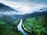 Mountains with forests and river. Carpathian Mountains