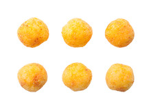 Cheese Balls Isolated On White...