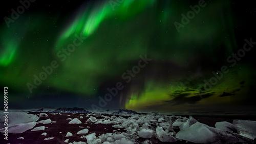 Valokuva  Basalt Strand Island Gletscherlagune Nordlicht