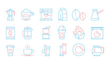 Coffee Cup Icons. Hot Drinks Tea And Coffee Espresso Cup And Mug Pot Cake Food Vector Linear Symbols. Illustration Of Coffee And Tea Mug, Drink Cup Mocha Linear
