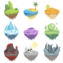 Isometric Islands. Cartoon Landscape With Rock Ice Grass Ground Volcano Lava Surface Vector Object For Game. Illustration Of Island And Ground Game, Grass Landscape
