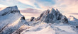 Leinwanddruck Bild - Panorama of Mountaineer standing on top of snowy mountain range