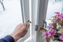 Hand Opening Window With Flower Decoration