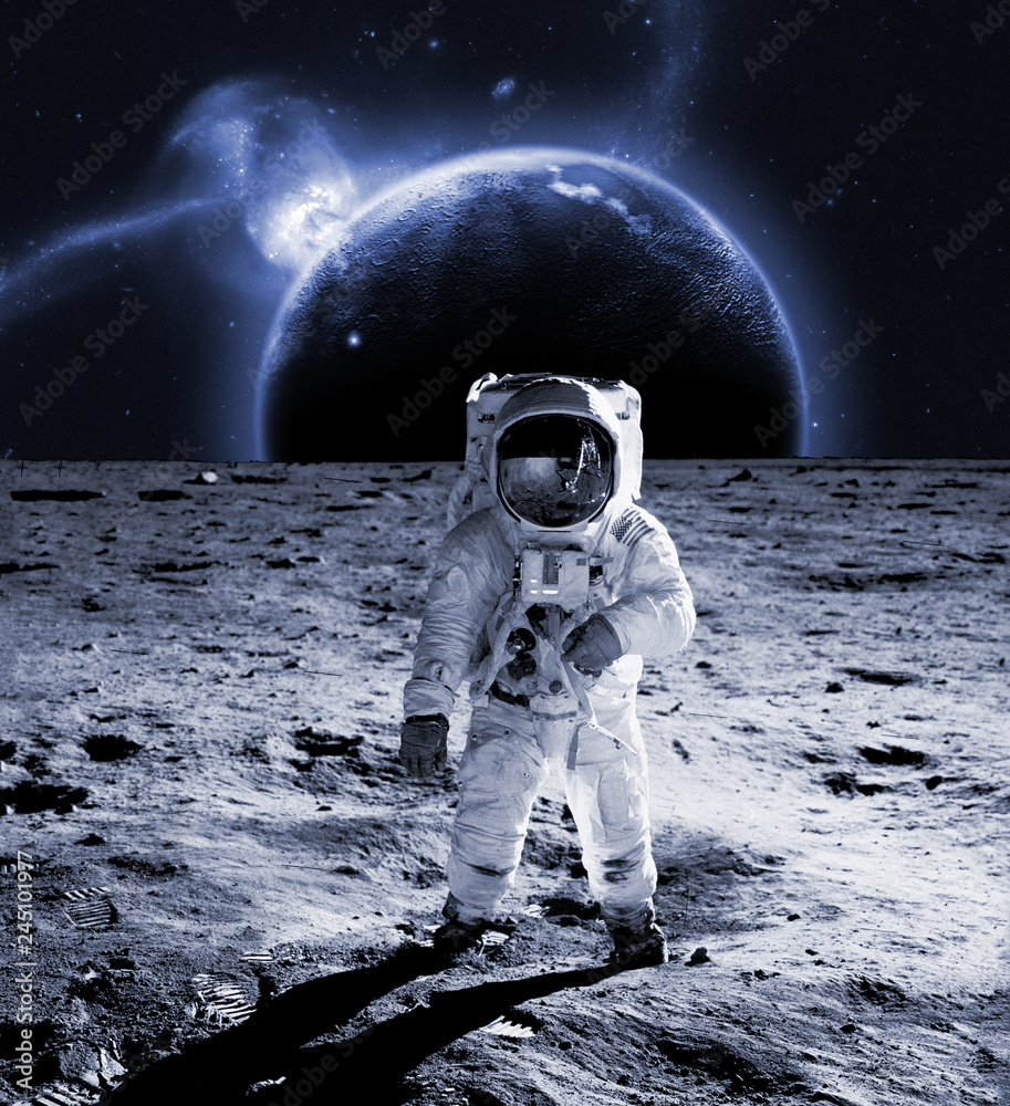 Fototapety, obrazy: astronaut walk on the moon wear cosmosuit. future concept