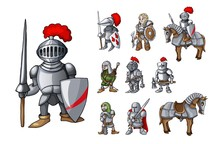 Set Of Medieval Knight Charact...