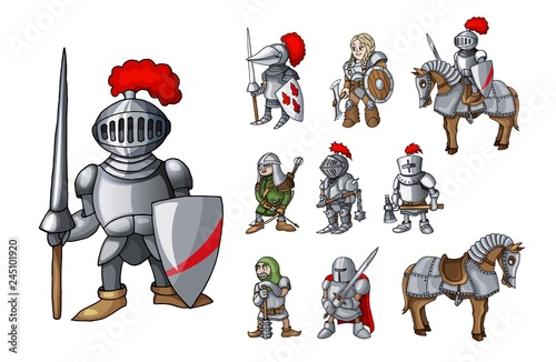 Set of medieval knight characters standing in different poses isolated on white Canvas