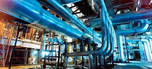 Fototapeta Industrial zone, Steel pipelines, valves and ladders