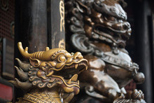 Bronze Lion And Dragon Statues...
