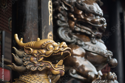 Bronze lion and dragon statues in a buddhist temple, Chengdu, China Tablou Canvas