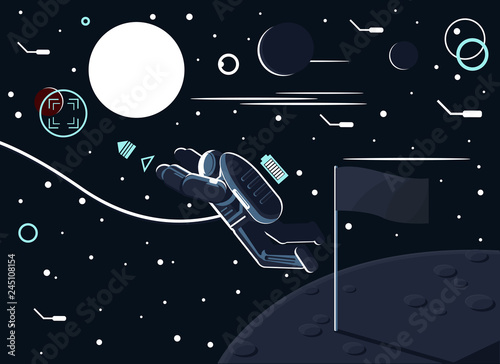 Obraz na plátne Conceptual vector illustration of an astronaut who left a flag on the moon or another planet and flew to Mars