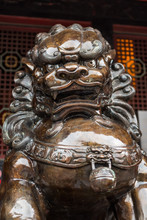 Bronze Lion Statue In A Buddhist Temple, Chengdu, China