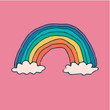rainbow and clouds. hand-drawn color vector illustration