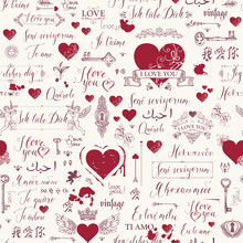 Vector Seamless Background With Red Hearts, Keys, Keyholes, Cupids And Love Theme Letterings. Abstract Background In Retro Style With Hand Written Declarations Of Love In Different Languages.