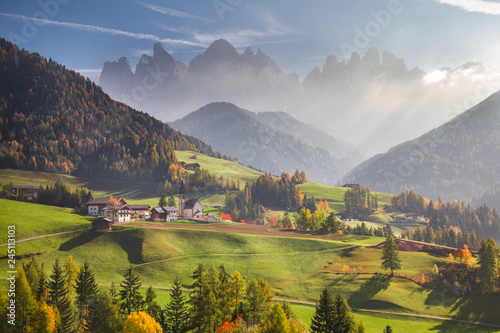Fotobehang Pistache Funes Valley, near Santa Magdalena, during autumn. Dolomites, South Tyrol, Italy