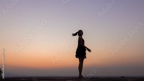 Aluminium Prints Dark grey silhouette of woman blowing her hair at sunset