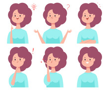 Cute Cartoon Girl With Different Emotions: Smile, Puzzled, Thinking, Confused, In Love And With Idea. Vector Flat Woman Character Set Isolated On A White Background.